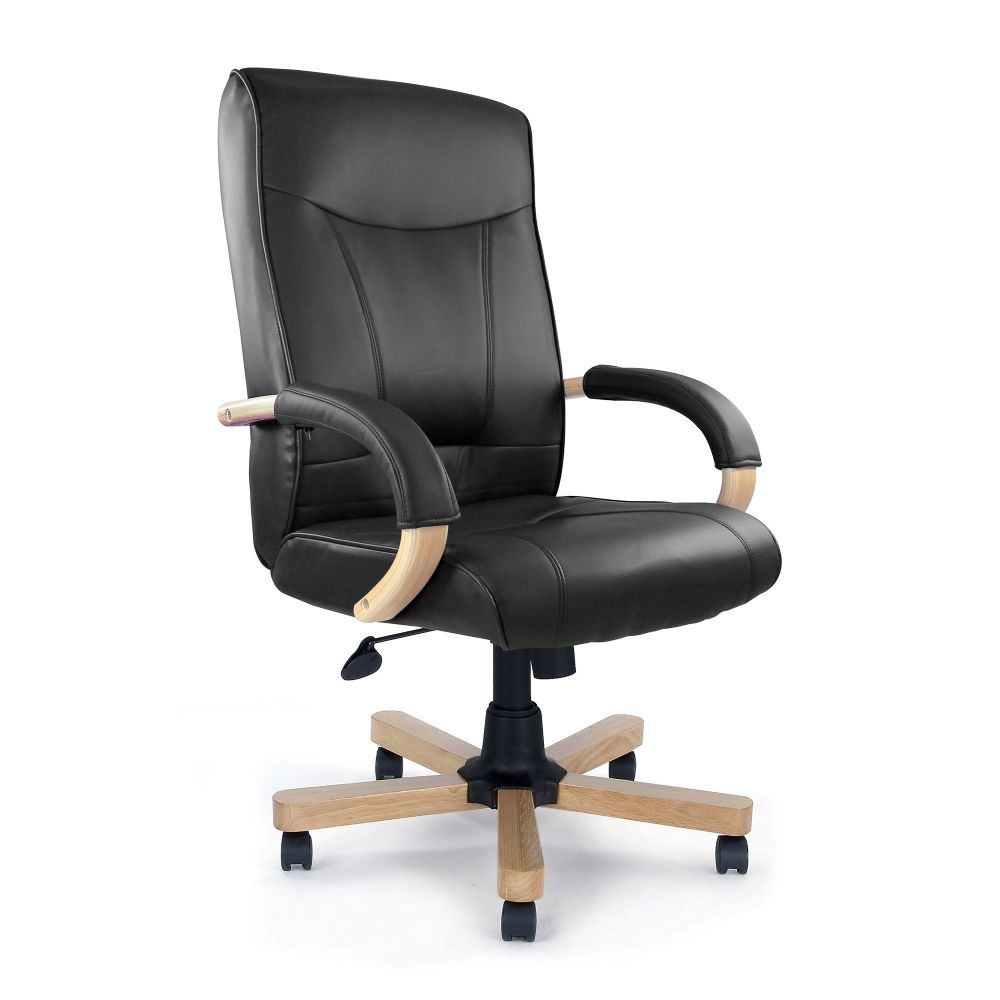 Troon Office Chair Fixed Arm Rests. Black, Cream, Brown Leather Faced or Mushroom Microfibre